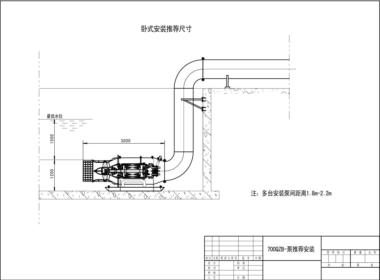 潜水轴流泵卧式安装示意图