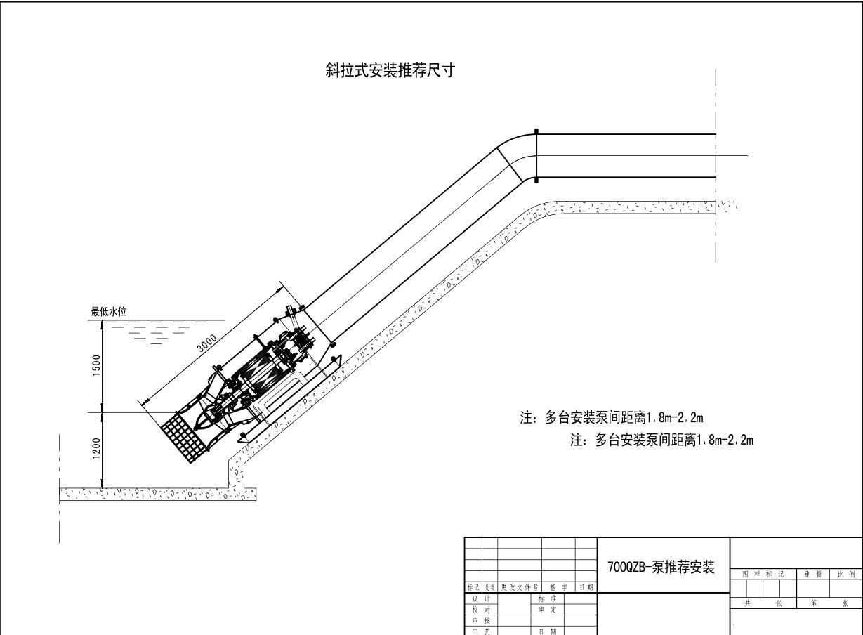 潜水轴流泵斜拉式安装示意图