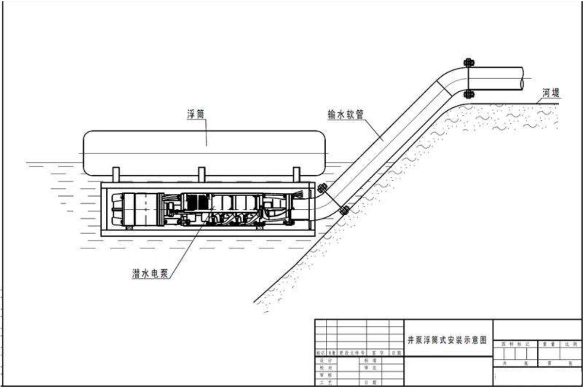 潜水轴流泵浮筒式安装示意图