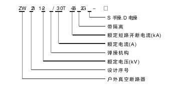 ZW32-12真空断路器型号含义说明