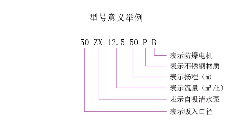 ZX自吸離心泵型號意義