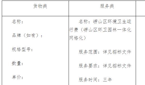 青岛市崂山区城市管理局崂山区环境卫生运行费中标公告