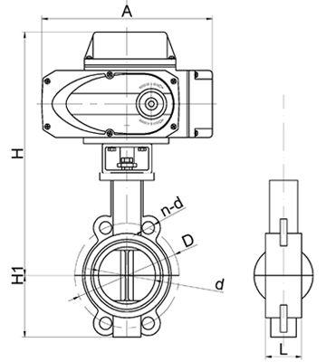 D971X电动不锈钢软密封对夹蝶阀结构图