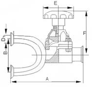 G81X食品卫生级U型快装三通隔膜阀结构图