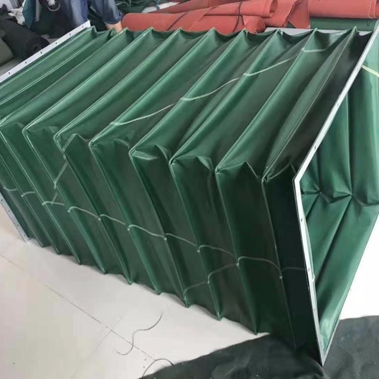 绿色帆布排烟通风伸缩软连接定做